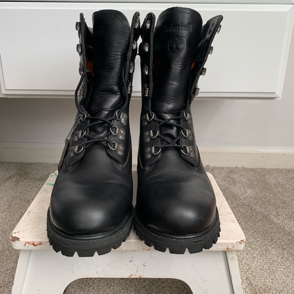 4 Below Black Leather High Timberlands